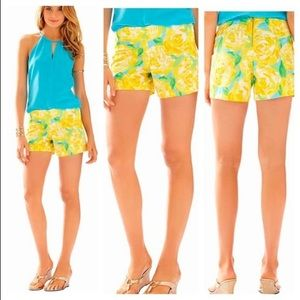 Lilly Pulitzer Yellow Floral Shorts - Size 000